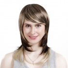 WM105 Cosplay Party Makeup Fashionable Synthetic Medium-Length Straight Hair Wig - Brown