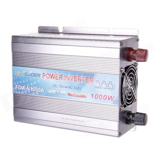 SUOER FDA-N1000W DC 12V to AC 230V Power Inverter - Silvery Grey