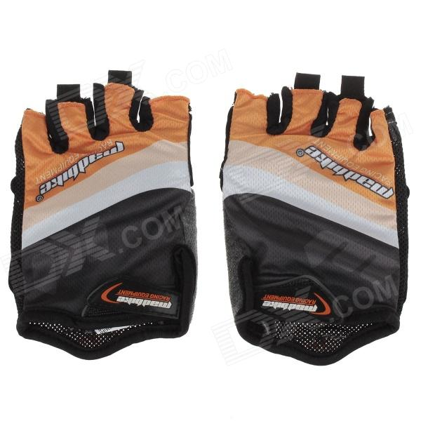 Mad Bike SK-02 Anti-Slip Half-Finger Bicycle Riding Cycling Gloves - Orange + Black + White (Size L)