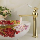 YDL-F-0577 Fashionable Gold-plated Brass Bathroom Basin Faucet - Gold + White
