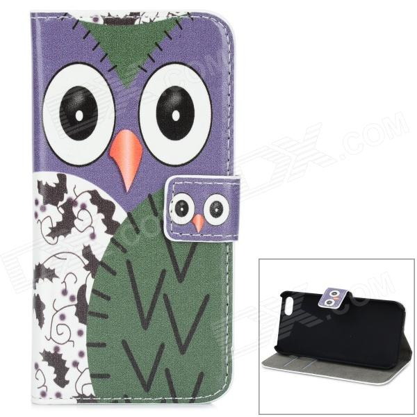 Protective Cartoon Owl Pattern PU + PC Case for IPHONE 5 / 5S - Purple + White