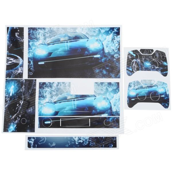 Car Pattern PVC Protective Sticker Set for XBOX ONE - Green + Deep Blue one piece 1x brand new high quality silicon protective skin case cover for xbox 360 remote controller blue green mix color