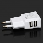 Universal 2-Port USB EU Plug Power Adapter w/ Blue Indicator - White