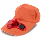 Fashionable Adjustable Velcro Peaked Cap w/ Solar Powered Fan - Orange
