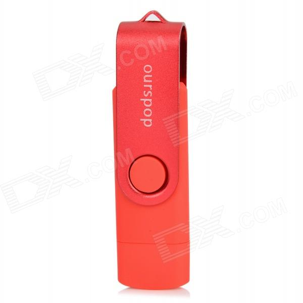 Ourspop SJ-20 Rotary USB 2.0 Flash Disk w/ Micro USB - Red + Silver (16GB)