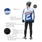 INBIKE Men's Cycling Long Jersey Top + Padded Pants Set - White + Blue + Multi-colored (L)