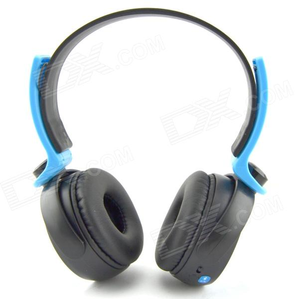 D-400 Bluetooth V3.0 Stereo Headband Headphone w/ Microphone / FM - Black + Blue smilyou multifunction wireless bluetooth 4 1 stereo headphone sd card