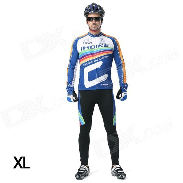 INBIKE Men's Cycling Long Jersey Top + Padded Pants Set - White + Blue + Multi-colored (XL) arsuxeo ar14 a men s cycling breathable warm long jersey top padded pants set black blue xl