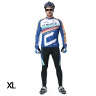 INBIKE Men's Cycling Long Jersey Top + Padded Pants Set - White + Blue + Multi-colored (XL)