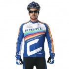 INBIKE Men's Cycling Long Jersey Top + Padded Pants Set - White + Blue + Multi-colored (M)