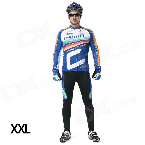 INBIKE Men's Cycling Long Jersey Top + Padded Pants Set - White + Blue + Multi-colored (XXL)