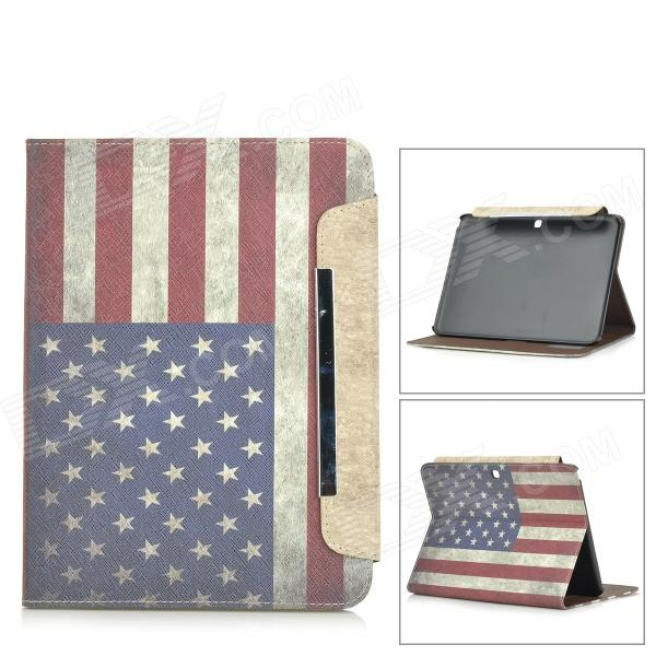 American Flag Patterned Wallet Style PU Leather Full Body Case for Samsung Galaxy Tab 4 10.1 - White maple головной убор