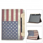 American Flag Patterned Wallet Style PU Leather Full Body Case for Samsung Galaxy Tab 4 10.1 - White