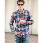 Men's Casual Style Cotton Long-Sleeved Plaid Shirt - Blue + Red + Multi-Color (XL)