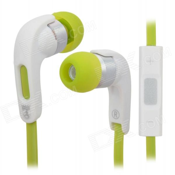 Bingle i810 3.5mm In-Ear Earphone w/ Microphone / Volume Control - White + Light Green