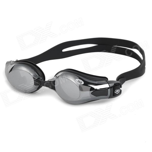 WIN.MAX WMB53757 Men's Mercury Plated Frame PC Lens -3.5 Diopters Myopia Swimming Goggles - Black