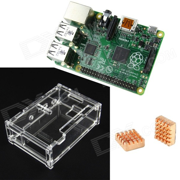 3-In-1 Rev 3.0 512M ARM Raspberry Pi Project Board Model B+ and 2 Heatsink and 1 Acrylic Case