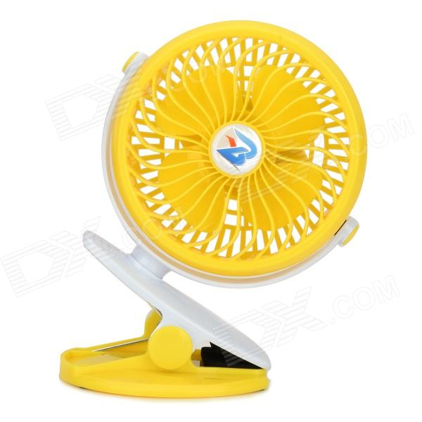 Li Shuo F-130 360 Degrees Rotation Mini Rechargeable 4-Blade Fan w/ Clip - White + Yellow