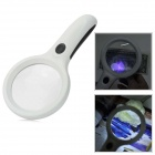 10X Handheld Magnifier w/ 8-LED (90mm) UV Counterfeit Detector for Reading / Outdoor - White