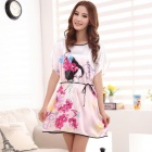 MARULONG S0002 Women's Fashionable Flower Pattern Short-Sleeved Nightdress - White + Deep Pink