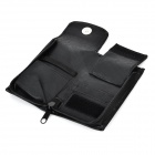 Portable Artificial Leather Single Hook Storage Bag - Black