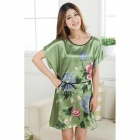 MARULONG S0002 Women's Fashionable Flower Pattern Short-Sleeved Nightdress - Green + Multi-Color