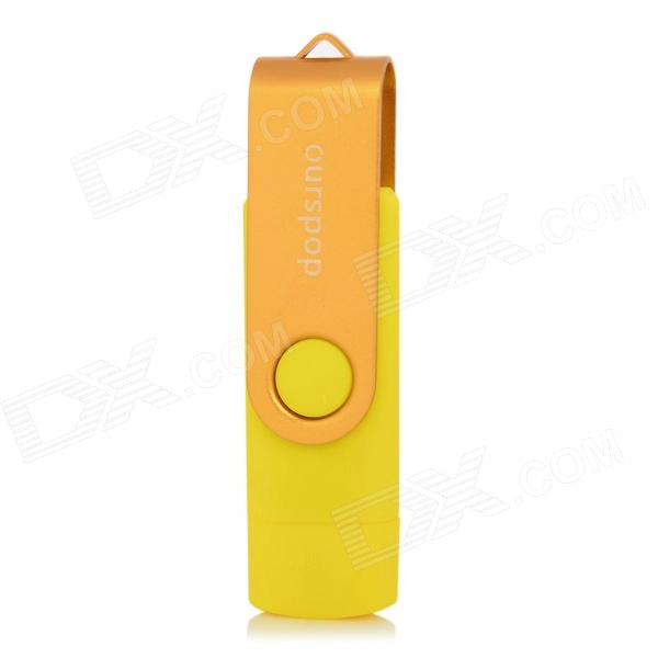 Ourspop SJ-20 Rotary USB 2.0 Flash Disk w/ Micro USB - Yellow + Golden (32GB)