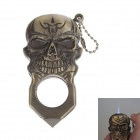 Skull Shaped Super Fire Windproof Butane Jet Flame Lighter - Golden