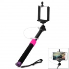 Self-Timer Pole w/ Remote Control Function + 3.5mm Audio Cable for iOS / Android - Deep Pink