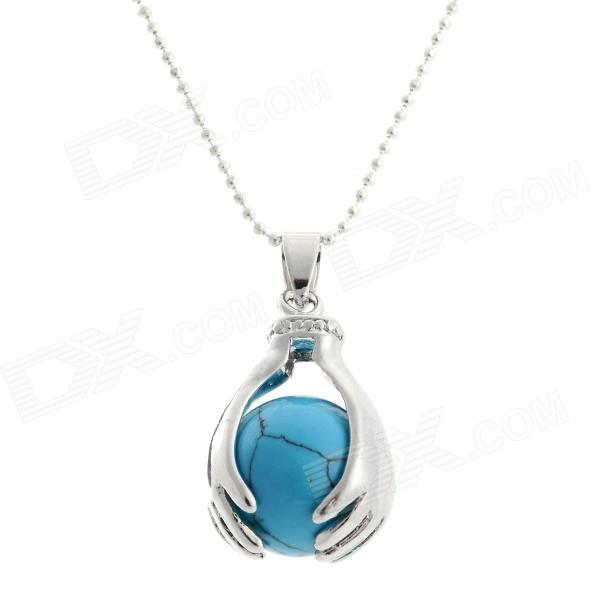 FenLu LSS10 Ball in the Hands Shaped Blue Turquoise + Copper Pendant Necklace - Blue + Silver