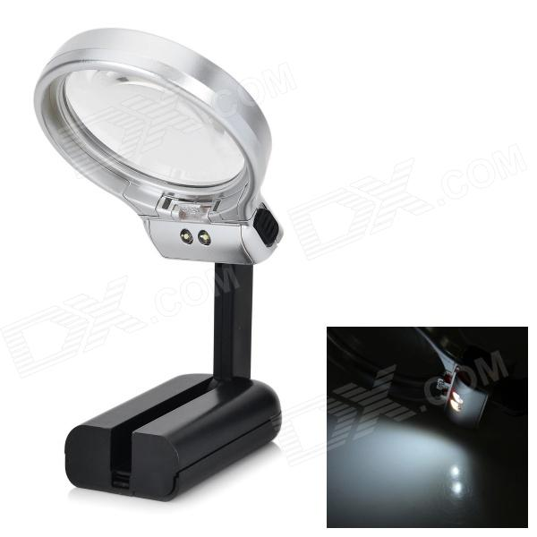 Universal Plastic 10X Fold-up Magnifier w/ 2-LED - Black + Silver (2 x AAA)