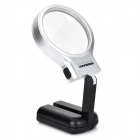 Universal Plastic 3x Fold-up Magnifier w/ 2-LED - Black + Silver (2 x AAA)