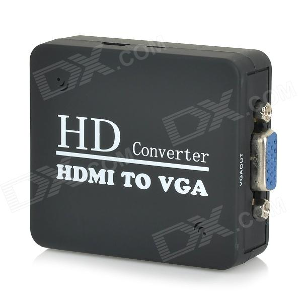 HDMI toVGA HD Convertor w/ 3.5mm Male to 2-Female Audio Cable - Black vga to hdmi hd video converter w usb cable black white
