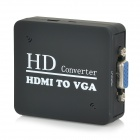 HDMI toVGA HD Convertor w/ 3.5mm Male to 2-Female Audio Cable - Black