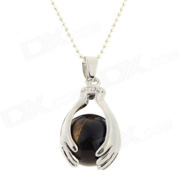 FenLu HY03 Fashion Ball in the Hands Shaped Quartz + Copper Pendant Necklace - Brown + Silver