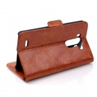 Oil Wax Leather TPU and PU Full Body Case with Stand for LG G3 MINI - Brown