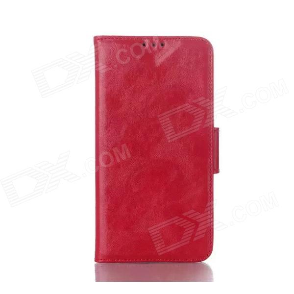 Oil Wax Leather TPU and PU Full Body Case with Stand for LG G3 MIN I- Red kinston i love you patterned pu leather full body case w stand for motorola moto g black red