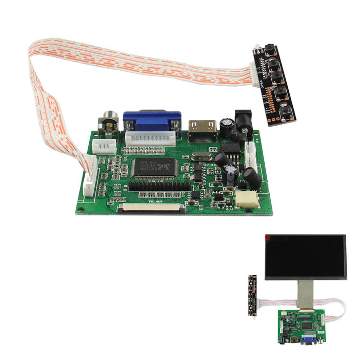 Drive Board (HDMI + VGA + 2AV) and Switch Keyboard for Raspberry Pi 7