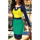 Women's Elegant Classy Round Neck Bodycon Tight Midi Dress - Blue + Yellow + Green (S)