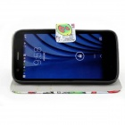 Protective PU Leather Case w/ Card Holder Slots for MOTO G - White + Red