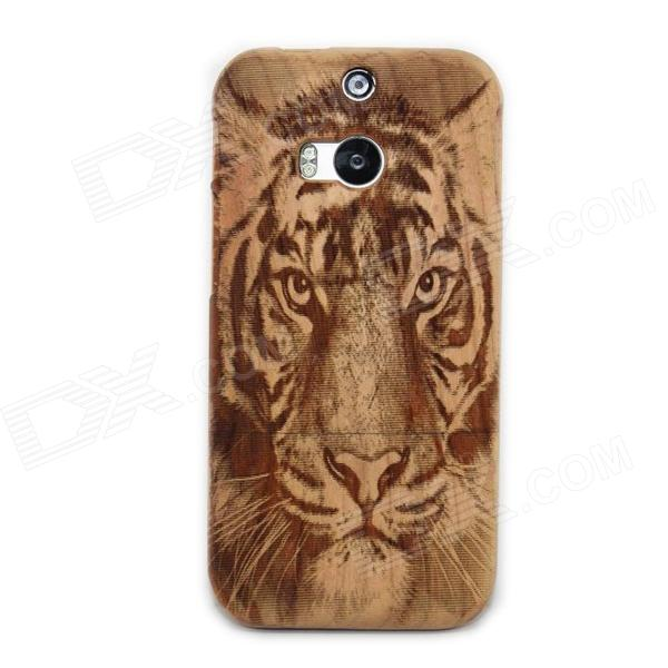 Tiger Pattern Detachable Protective Wood Back Case for HTC M8 - Wood camera pattern detachable protective wood back case for htc one m7 wooden