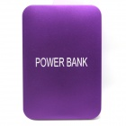 5000mAh Li-polymer Battery Dual USB Power Bank w/ Flashlight for IPHONE / IPAD / Samsung - Purple