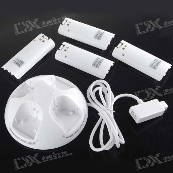 Quadruple Battery Charging Station Dock with 4*700mAh Batteries for Wii Remote