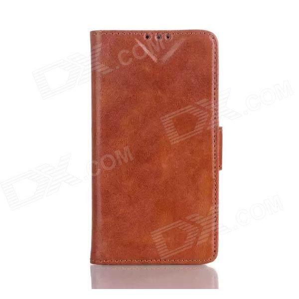Oil Wax Leather TPU and PU Full Body Case with Stand for LG L70 - Brown