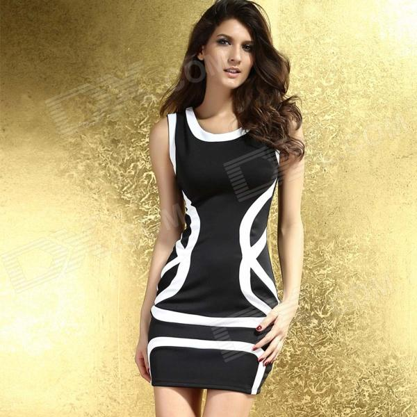 Classic Contrast Color Club Mini Dress - Black + White