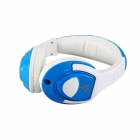VYKON MQ44 Superb 3.5mm On-ear Headphones w/ Microphone - White + Blue (1.2m-Cable)