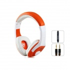 Výkon MQ44 Superb 3,5-mm-On-Ear-Kopfhörer w / Mikrofon - Weiß + Orange (1,2 m-Kabel)