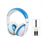 MQ55 3.5mm Wired On-ear Stereo Headphones w/ Microphone - White + Blue (1.2m-Cable)