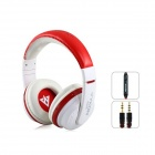 MQ55 3.5mm Wired On-ear Stereo Headphones w/ Microphone - White + Red (1.2m-Cable)