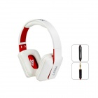 MQ77 Superb 3.5mm On-ear Headphones w/ Microphone - White + Red (1.2m-Cable)